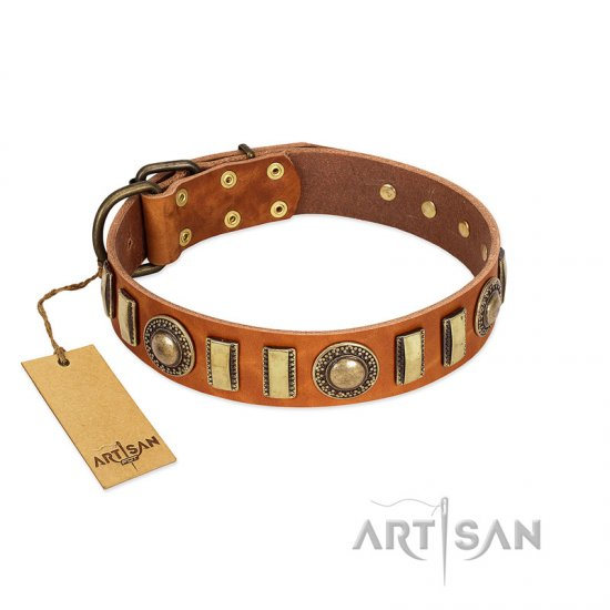 """Happy Hound"" FDT Artisan Tan Leather Collie Collar with Elegant Decorations"