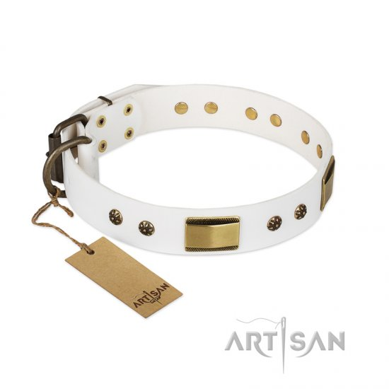 """Precious Necklace"" FDT Artisan White Leather Collie Collar with Old Bronze Look Plates and Studs"