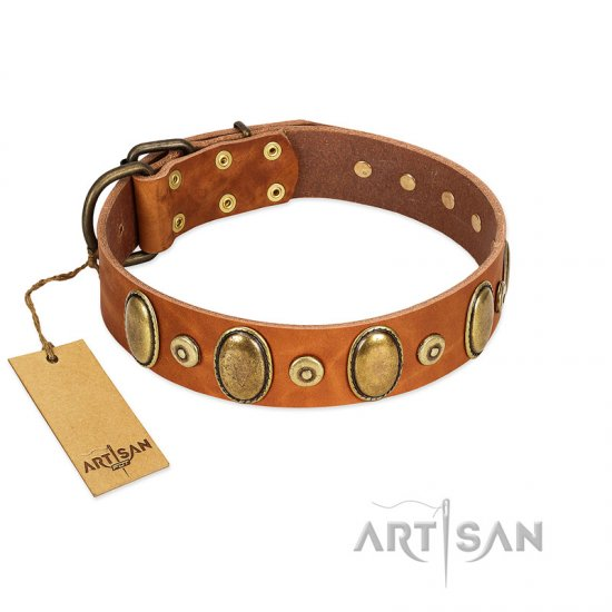 """Crystal Sand"" FDT Artisan Tan Leather Collie Collar with Vintage Looking Oval and Round Studs"
