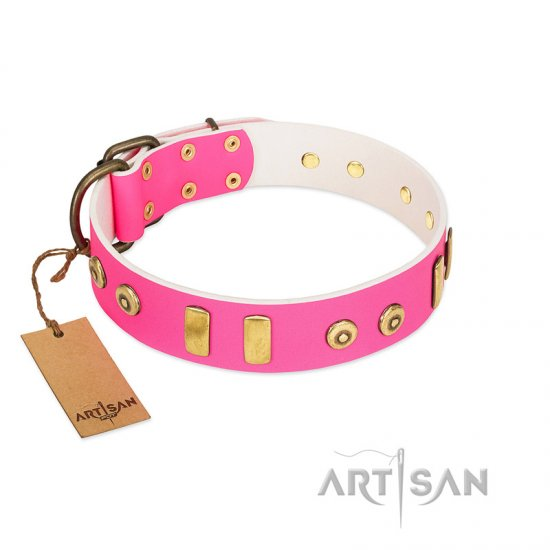 """Prim'N'Proper"" Handmade FDT Artisan Pink Leather Collie Collar with Old Bronze-like Dotted Studs and Tiles"