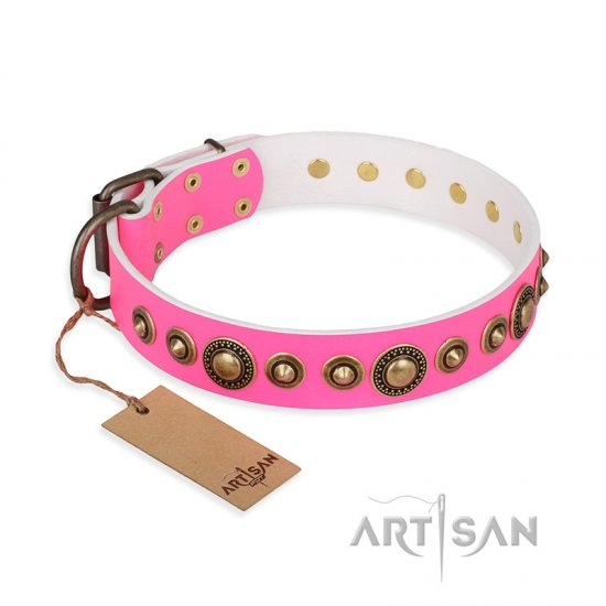 """Pink Gloss"" FDT Artisan Leather Collie Collar with Old-Bronze Plated Circles and Studs"
