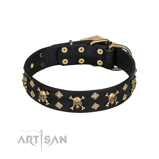 """Jolly Rojer"" FDT Artisan Leather Collie Collar with Pirate Skulls and Studs - 1 1/2 inch (40 mm) wide"