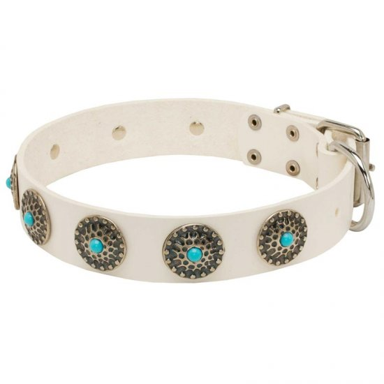 Exclusive White Leather Collie Collar with blue stones