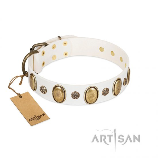 """Nifty Doodad"" FDT Artisan White Leather Collie Collar with Amazing Large Ovals and Small Studs"