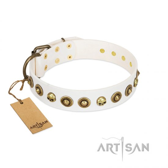 """Wondrous Venture"" FDT Artisan White Leather Collie Collar with Skulls and Brooches"