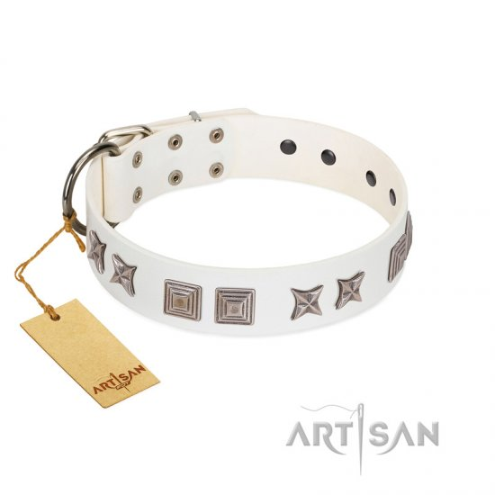 """Mister Perfection"" Designer Handmade FDT Artisan White Leather Collie Collar"