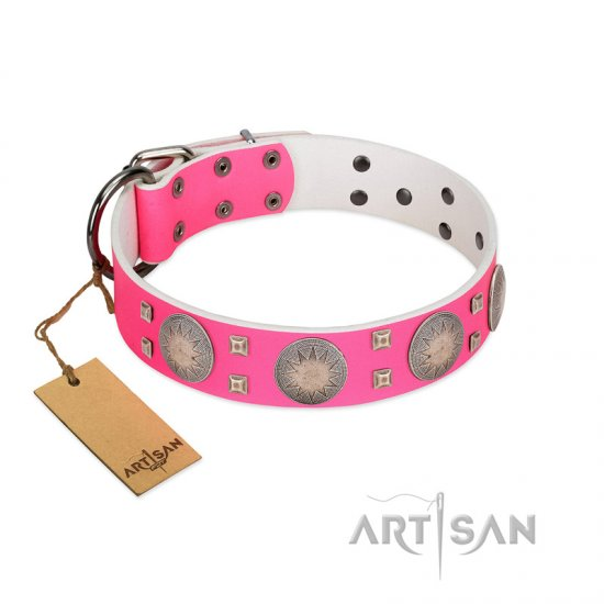 """Sunny Star"" Designer Handmade FDT Artisan Pink Leather Collie Collar"