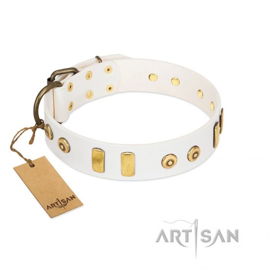 """Golden Union"" Elegant FDT Artisan White Leather Collie Collar with Old Bronze-like Dotted Studs and Tiles"