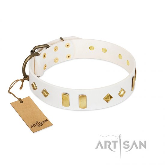 """Hella Cool"" FDT Artisan White Leather Collie Collar Adorned with Plates and Rhombs"