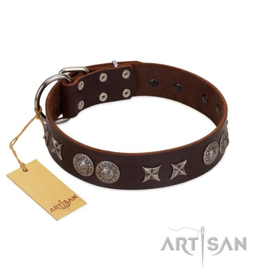 """Antique Style"" Designer Handmade FDT Artisan Brown Leather Collie Collar"