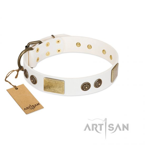 """Sweet Melody"" FDT Artisan White Leather Collie Collar with Plates and Ornamented Studs"
