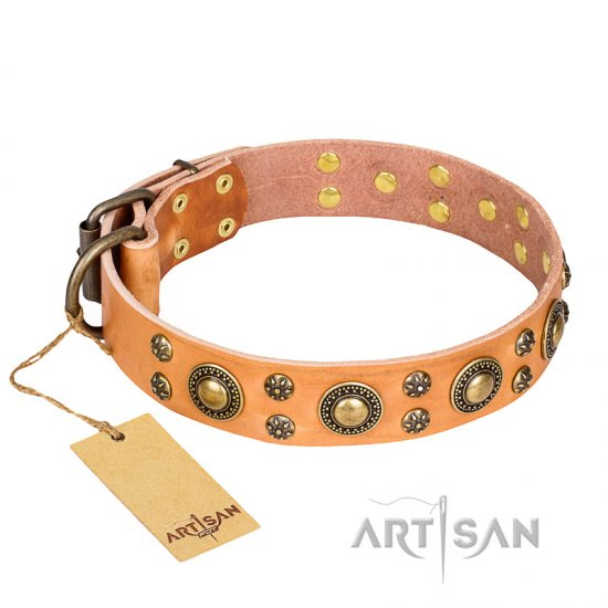 """Sophisticated Glamor"" FDT Artisan Leather Collie Collar with Fancy Old Bronze-like Plated Decorations"