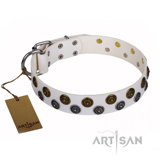"""Snowflake"" FDT Artisan White Leather Collie Collar with Sparkling Circles"
