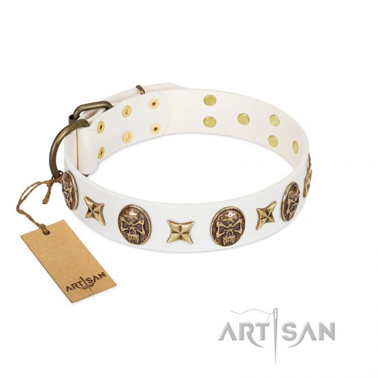 """Fads and Fancies"" FDT Artisan White Leather Collie Collar with Stars and Skulls"