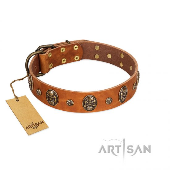 """Rockstar"" FDT Artisan Tan Leather Collie Collar with Engraved Studs and Medallions"