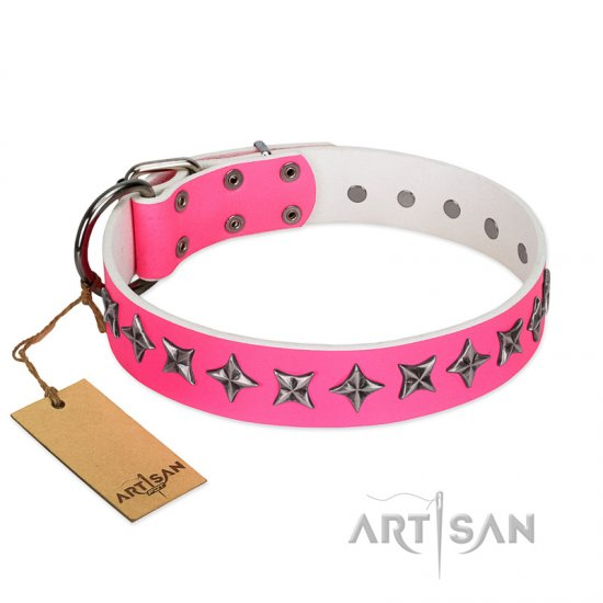 """Star Dreams"" FDT Artisan Pink Leather Collie Collar with Silver-like Stars"