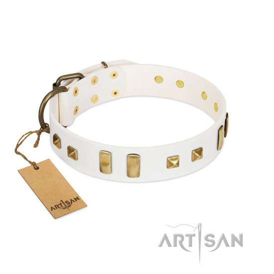 """Wintertide Mood"" FDT Artisan White Leather Collie Collar with Old Bronze-like Plates and Studs"
