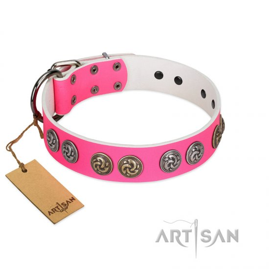 """Pink Butterfly"" Designer FDT Artisan Pink Leather Collie Collar with Round Studs"