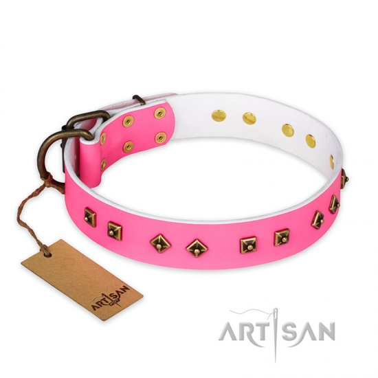 """Magic Pink"" FDT Artisan Decorated Leather Collie Collar with Old Bronze-Plated Steel Hardware"