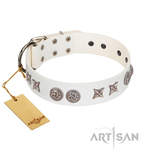 """Galaxy Hunter"" FDT Artisan White Leather Collie Collar with Engraved Brooches and Stars"