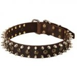 3 Rows Leather Spiked and Studded Collie Collar