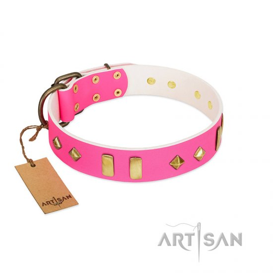 """Gentle Temptation"" FDT Artisan Pink Leather Collie Collar with Goldish Plates and Studs"