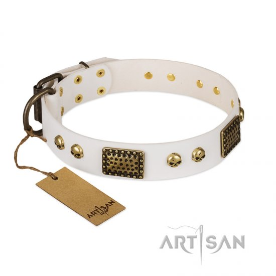 """Lost Treasures"" FDT Artisan White Leather Collie Collar with Old Bronze Look Plates and Skulls"