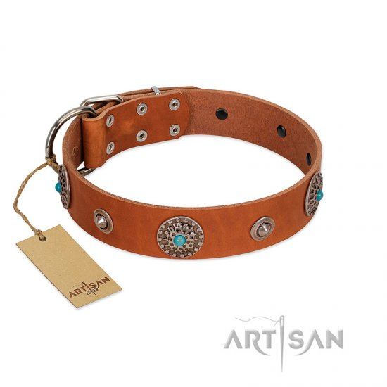 """Marine Antiques"" Handmade FDT Artisan Tan Leather Collie Collar with Blue Stones"