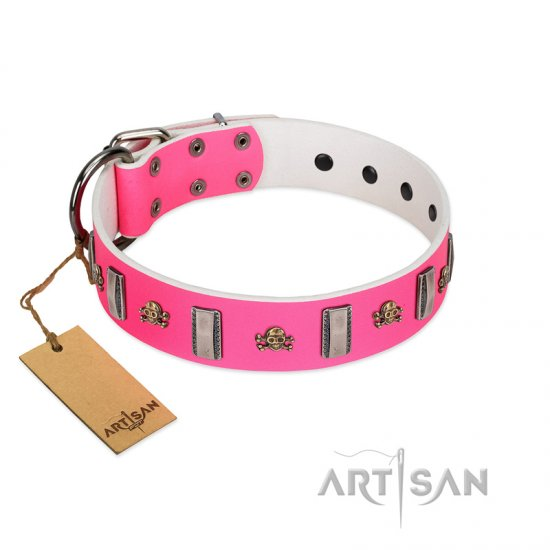 """Sea Dog"" Trendy FDT Artisan Pink Leather Collie Collar with Plates and Skulls"