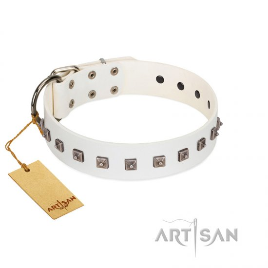 """True Grace"" Premium Quality FDT Artisan White Designer Leather Collie Collar"