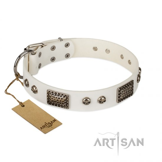 """Terrific Beauty"" FDT Artisan Beguiling White Leather Collie Collar"