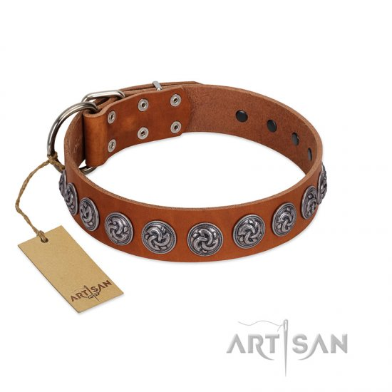 """Velvet Kiss"" Handmade FDT Artisan Tan Leather Collie Collar with Vintage Medallions"