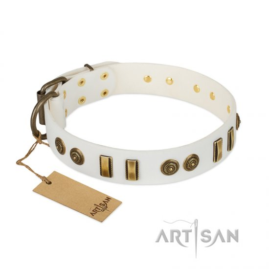 """Midsummer Snow"" FDT Artisan White Leather Collie Collar with Old Bronze-like Plates and Circles"