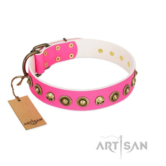 """Pawty Time"" FDT Artisan Pink Leather Collie Collar with Decorative Skulls and Brooches"
