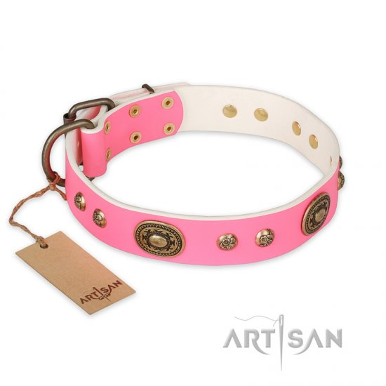"""Sensational Beauty"" FDT Artisan Pink Leather Collie Collar with Old Bronze Look Plates and Studs"