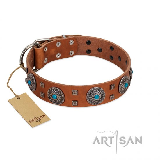 """Blue Sands"" FDT Artisan Tan Leather Collie Collar with Silver-like Studs and Round Conchos with Stones"