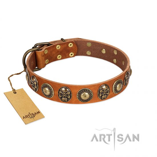 """Golden Epoch"" FDT Artisan Tan Leather Collie Collar with Old Bronze-plated Medallions and Conchos"
