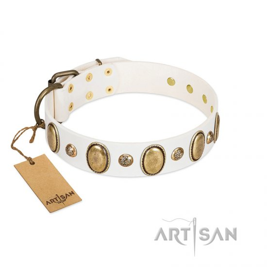 """Milky Lagoon"" FDT Artisan White Leather Collie Collar with Vintage Looking Oval and Round Adornments"