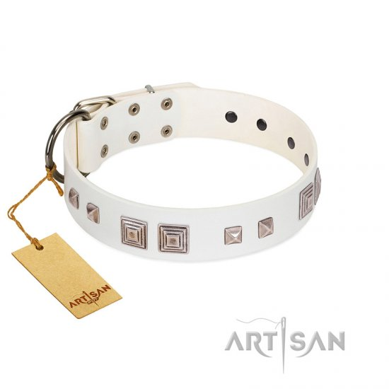 """Pure Quadratic"" Designer Handmade FDT Artisan White Leather Collie Collar"