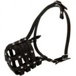 Walking and Training Leather Cage Collie Muzzle