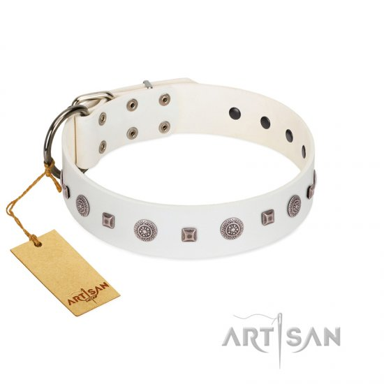 """Drops on Snow"" Handmade FDT Artisan White Leather Collie Collar Adorned with Silver-Like Studs"