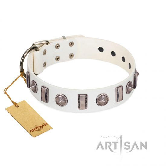 """Icy Spike"" Designer FDT Artisan White Leather Collie Collar with Silver-Like Decorations"