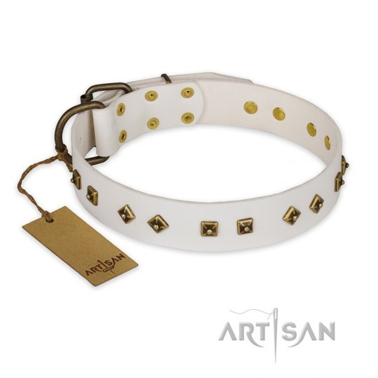 """Snow Cloud"" FDT Artisan White Leather Collie Collar with Square and Rhomb Studs"