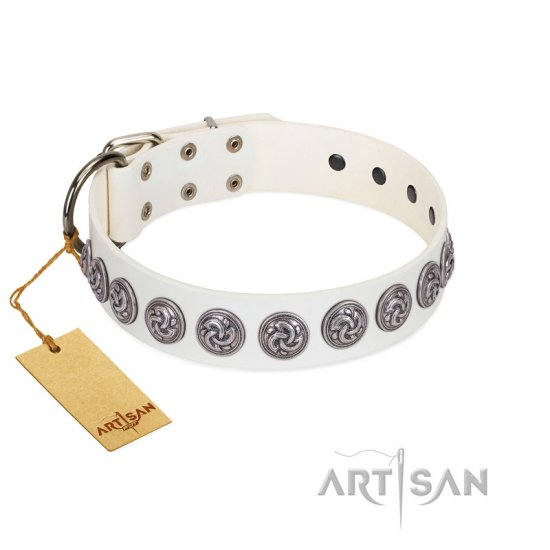 """Bohemian Spirit"" Handmade FDT Artisan White Leather Collie Collar with Vintage Decorations"