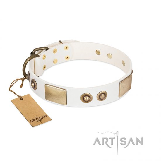 """Noble Impulse"" FDT Artisan White Leather Collie Collar Adorned with Antique Plates and Studs"