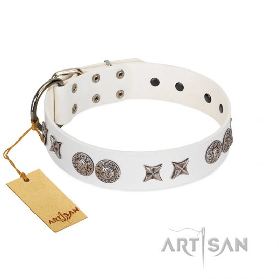 """Seventh Heavens"" FDT Artisan White Leather Collie Collar with Chrome-plated Stars and Engraved Brooches"