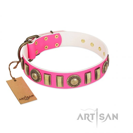 """La Femme"" FDT Artisan Pink Leather Collie Collar with Ornate Brooches and Small Plates"
