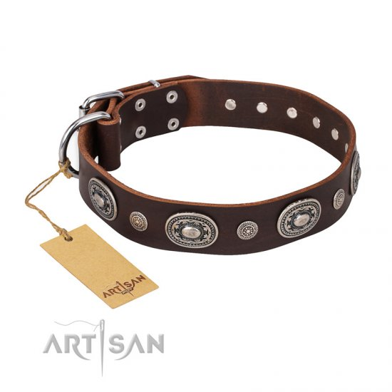 """Extra Pizzazz"" FDT Artisan Adorned Brown Leather Collie Collar"