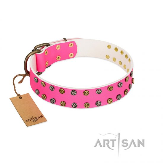 """Blushing Star"" FDT Artisan Pink Leather Collie Collar with Two Rows of Small Studs"