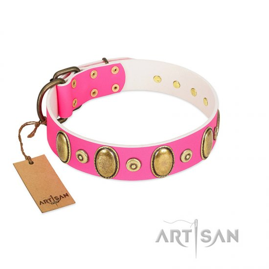 """Drawing Power"" FDT Artisan Pink Leather Collie Collar with Engraved Ovals and Dotted Studs"